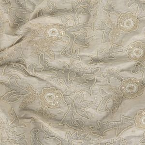Ivory Floral Embroidered and Beaded Silk Dupioni