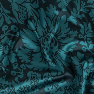 Navy and Indian Teal Floral Fluid Stretch Silk Satin