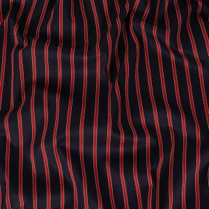 Navy, Red and Cloud Dancer Striped Stretch Cotton Twill