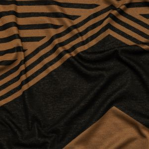 Black and Brown Chevrons and Stripes Cotton Blend Jacquard Knit Panel