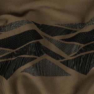Brown and Charcoal Textured Triangles Striped Polyester Brocade Panel