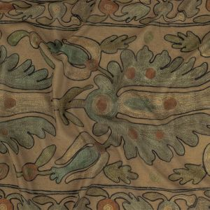 Greige, Dusty Teal and Orange Chain Stitched Floral Polyester Georgette Panel
