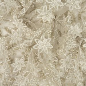 Pale Gray and White Floral 3D Embroidered and Beaded Lace