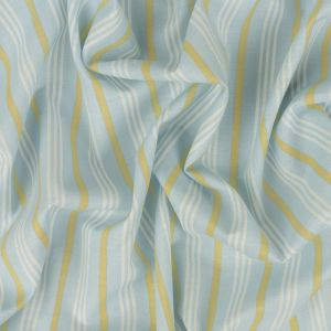 Baby Blue, Lemon and White Striped Cotton Shirting