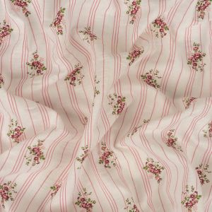Pink and White Floral and Striped Cotton and Polyester Seersucker