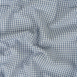 Colonial Blue and White Checkered Cotton Seersucker