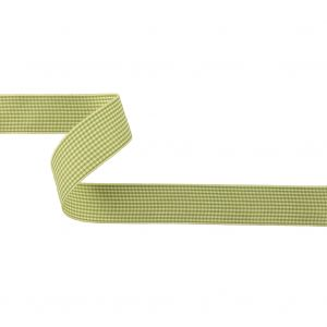 Lime and Cream Houndstooth Check Woven Ribbon - 1