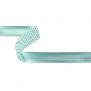 Sky Blue and Glass Green Houndstooth Check Woven Ribbon - 1