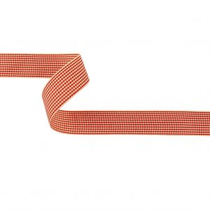 Red and Cream Houndstooth Check Woven Ribbon - 1
