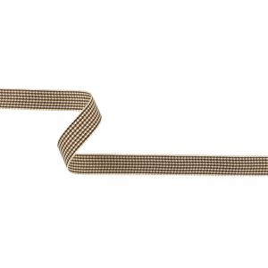 Brown and Cream Houndstooth Check Woven Ribbon - 0.625