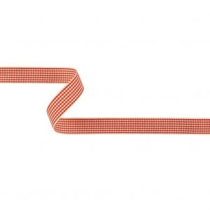 Red and Cream Houndstooth Check Woven Ribbon - 0.625