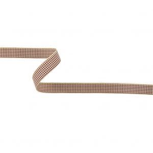 Wine and Cream Houndstooth Check Woven Ribbon - 0.625