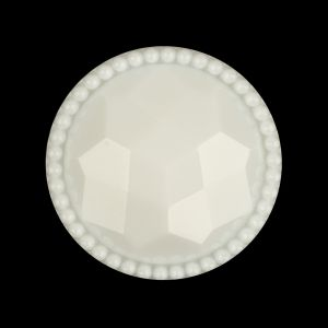Italian White Faceted Decorative Shank Back Button - 44L/28mm