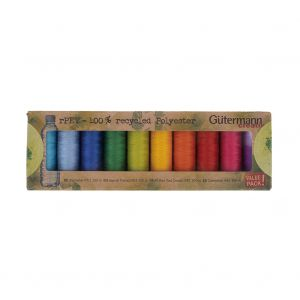Gutermann Bright Shades 100% Recycled Polyester Thread Set - 10ct