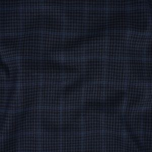 Italian Blue and Black Checkered Wool Suiting