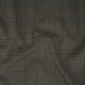 Italian Gray and Pale Blue Plaid Wool Suiting