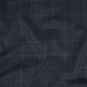 Italian Navy and Blue Windowpane Check Wool Suiting
