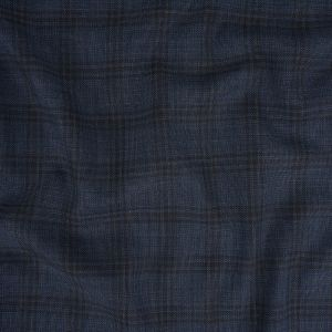 Italian Blue Nights and Navy Plaid Wool Suiting