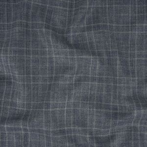 Italian Dusty Blue and White Heathered Plaid Wool Suiting