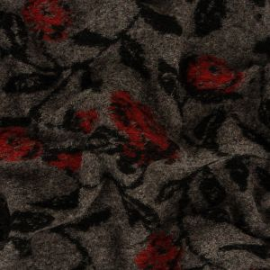Red Alert, Black and Heathered Gray Rose Vines Fuzzy Wool Knit