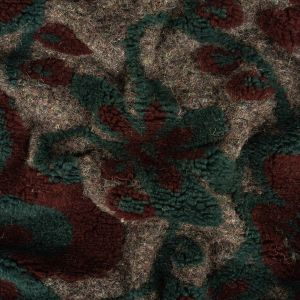 Burgundy, Teal and Heathered Gray Plush Floral Chunky Wool Knit