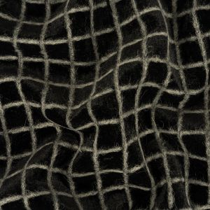 Black and Gray Windowpane Check Polyester Velvet Bonded with Fuzzy Gray Wool Knit