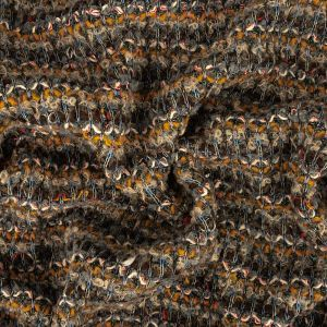 Mustard, Brown and Blue Textural Stripes Chunky Wool Knit with Clear Baby Sequins