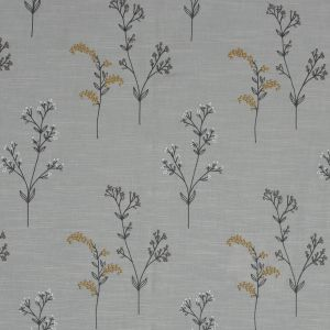British Imported Ochre Imitation Dupione with Embroidered Flowers