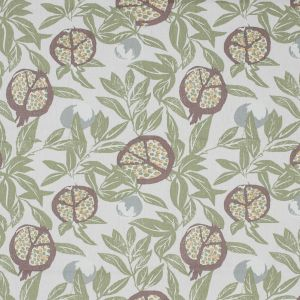 British Imported Olive Pomegranate Printed Cotton Canvas