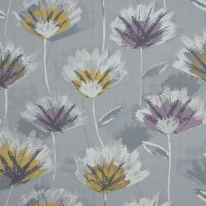 British Imported Plum Painterly Floral Printed Cotton Canvas