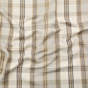 British Imported Biscuit and Roasted Cashew Plaid and Herringbone Woven