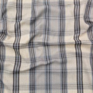 British Imported Gray Morn and Turbulence Plaid and Herringbone Woven