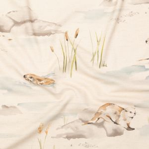 British Imported Biscuit Otter Printed Cotton Canvas
