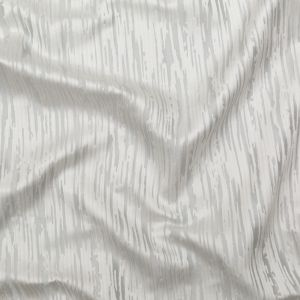 British Imported Silver Jacquard With Organic Satin Stripes