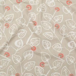 British Imported Coral Leafy Printed Cotton Canvas