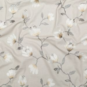 British Imported Linen Floral Embroidered Imitation Dupioni