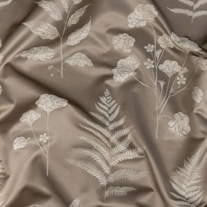 British Imported Pewter Floral Satin-Faced Drapery Jacquard