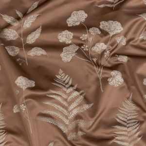 British Imported Rose Gold Floral Satin-Faced Drapery Jacquard