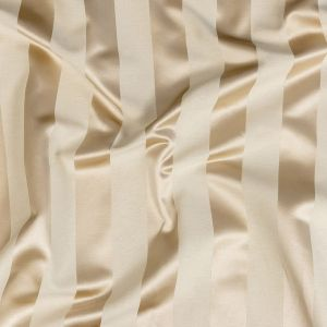 British Imported Oyster Reversible Drapery Woven with Satin Awning Stripes