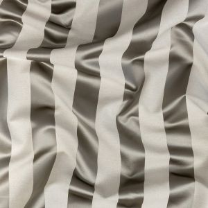 British Imported Pewter Reversible Drapery Woven with Satin Awning Stripes