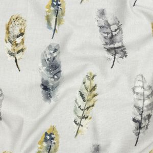British Imported Stone Watercolor Feathers Printed Cotton Canvas