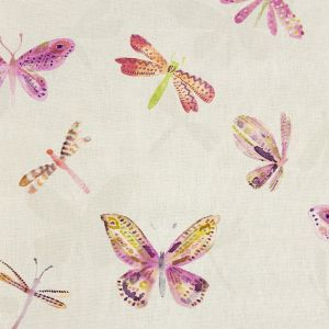 British Imported Fuchsia Watercolor Butterflies Printed Cotton Canvas
