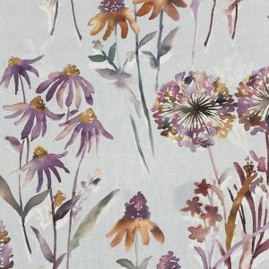 British Imported Berry Watercolor Flowers Printed Cotton Canvas
