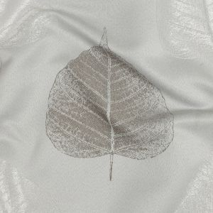 British Imported Silver Large-Scale Leaves Polyester Jacquard