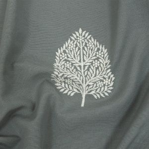 British Imported Duckegg Foliage Embroidered Drapery Woven