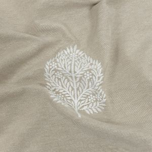 British Imported Linen Foliage Embroidered Drapery Woven