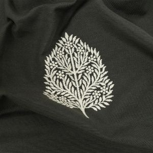 British Imported Moss Foliage Embroidered Drapery Woven