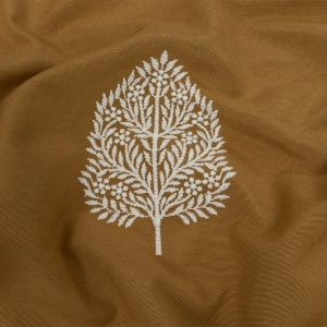 British Imported Ochre Foliage Embroidered Drapery Woven