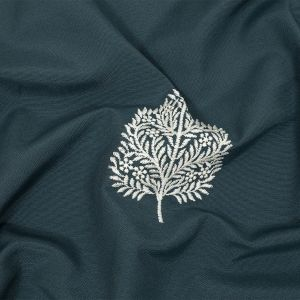 British Imported Peacock Foliage Embroidered Drapery Woven