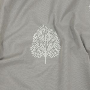 British Imported Silver Foliage Embroidered Drapery Woven